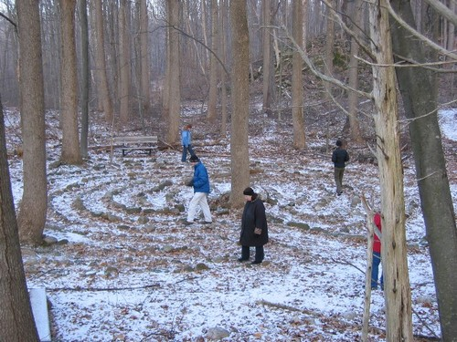 Camp Johnsonburg labyrinth in winter