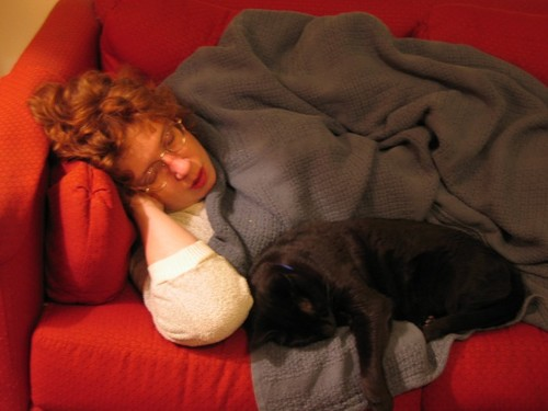 Wife Sleeping with cat